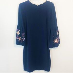 Loft navy shift dress w embroidered bell sleeves M